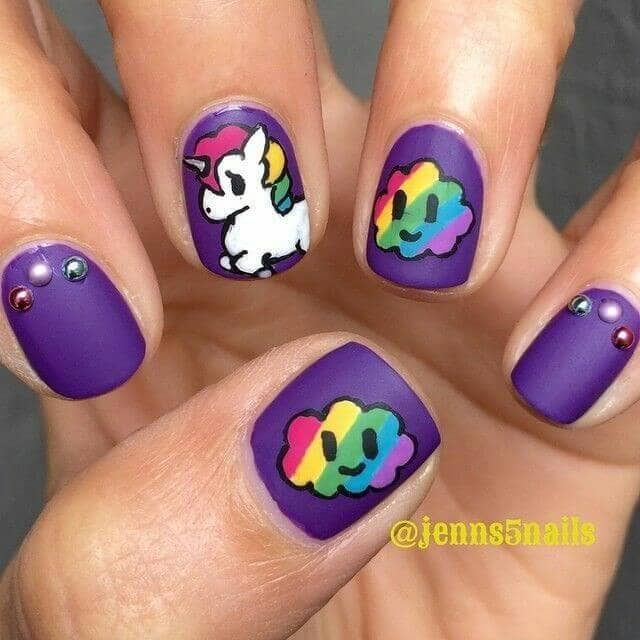 Matte Purple With Unicorn Nail Design