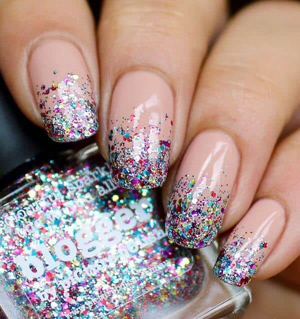 Nude With Multicolored Glitter TipsNude With Multicolored Glitter Tips