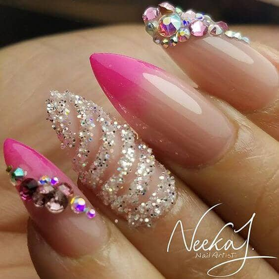 Glitter, Jewels And Hot Pink Tips