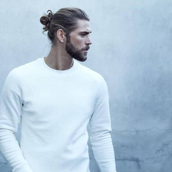 Long Hair Bun, Short Beard