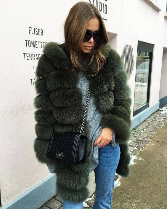 Puffer Style Smoke Gray Faux Fur