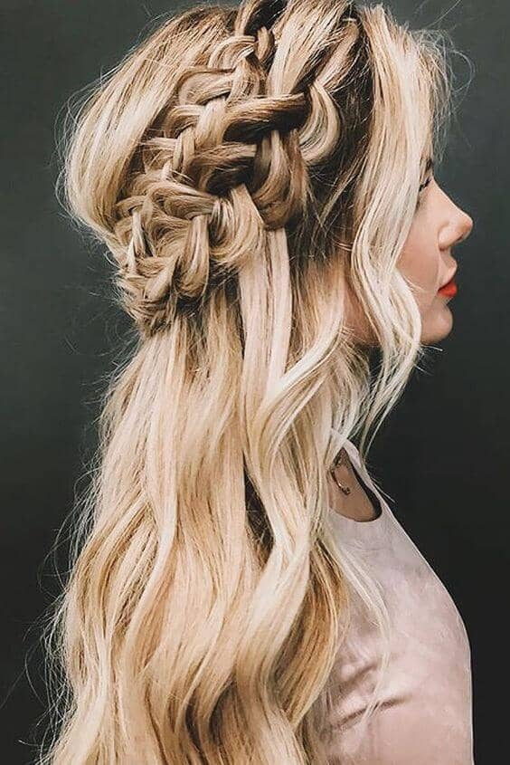 Loose Double Waterfall Braided Crown