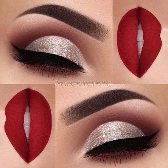 Silver Glitter Eyes and Red Lips