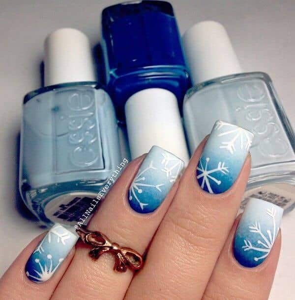 Navy To Ice Blue Ombre With Snowflake Art