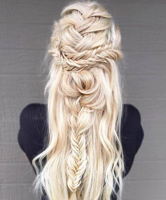 Half-up Fishtail French Braid