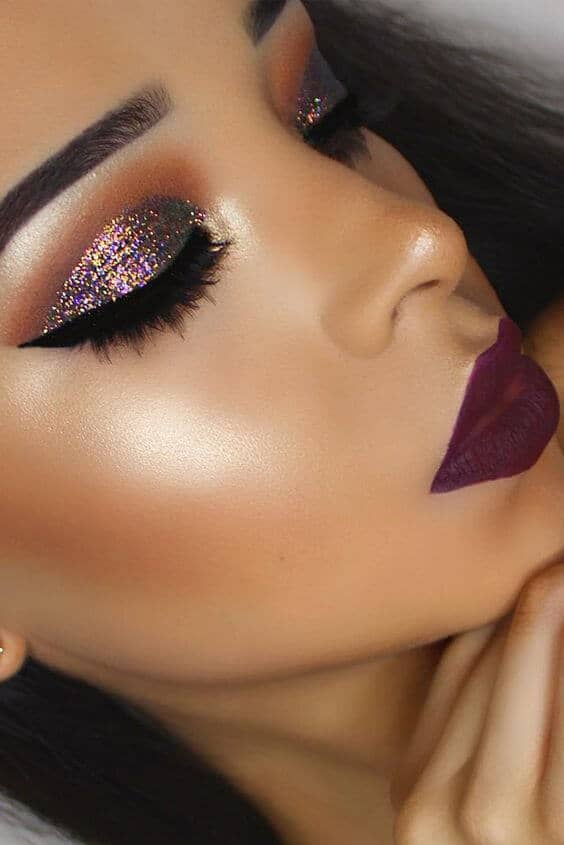 Maroon Lips and Matching Glitter Eyes