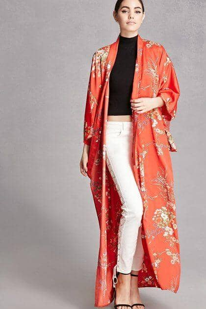 Traditional Floral Kimono Duster