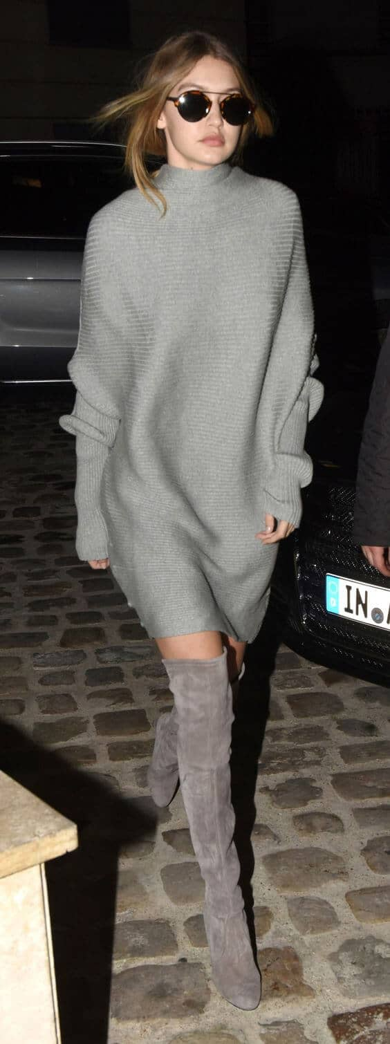 Chic Grey Knee High Boots
