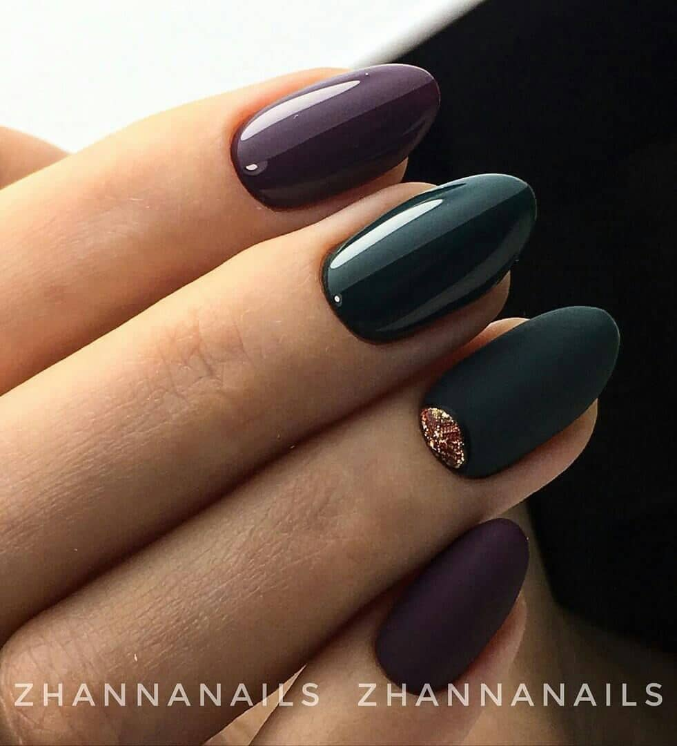 Eggplant And Deep Green Gloss-to-matte