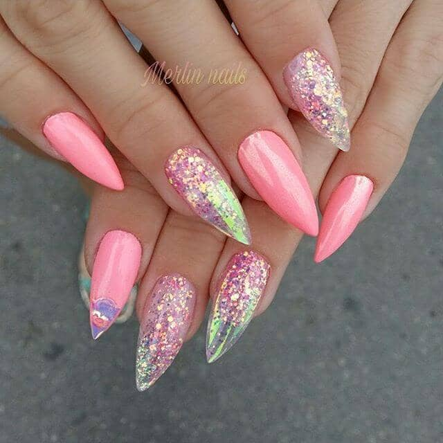 Holographic Glitter Nails with Pink Accents