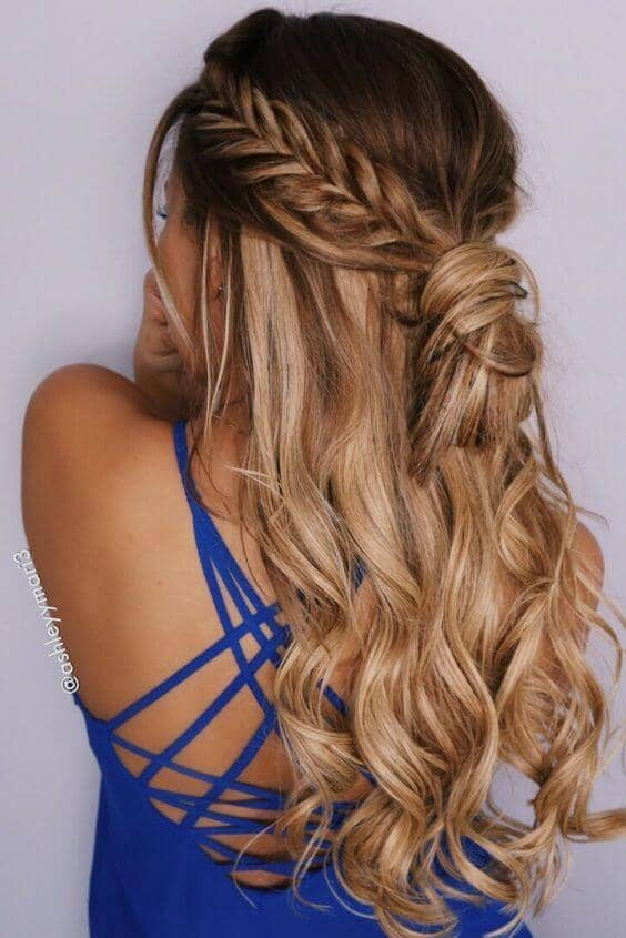 Half-up Fishtail Hairstyle With Ringlets