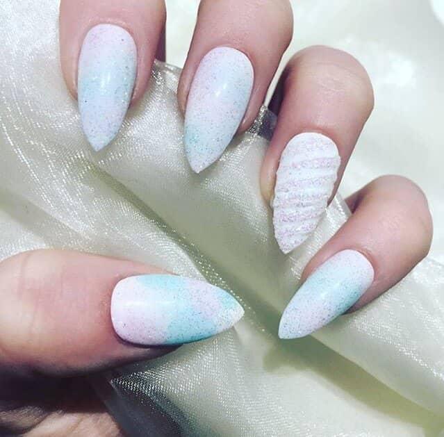 White Unicorn Nails with Glitter Dust