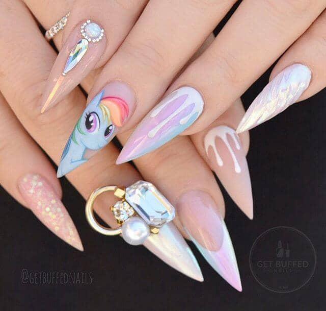 Unicorn Nails with Rainbow Dash