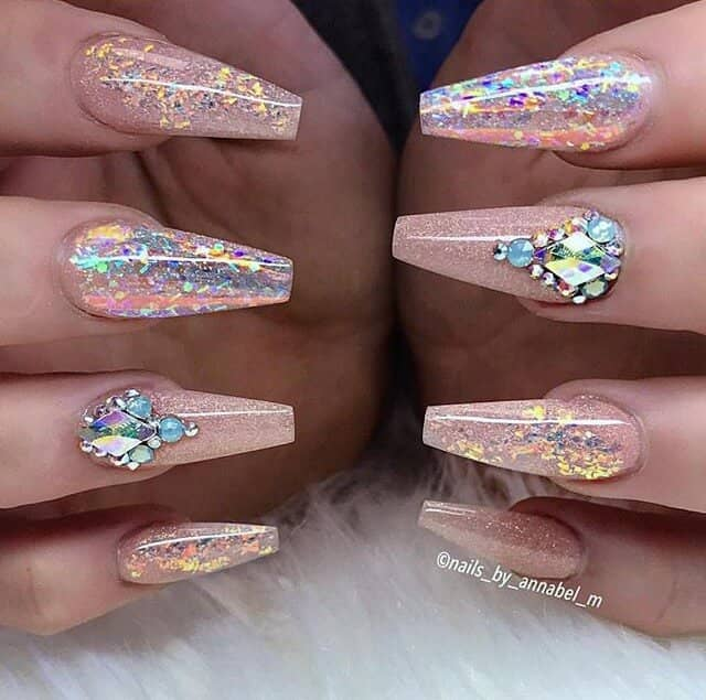 Shimmering Pink Nails with Dazzling Crystals