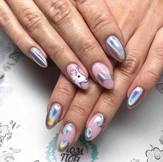 Metallic Nails with Unicorn Designs