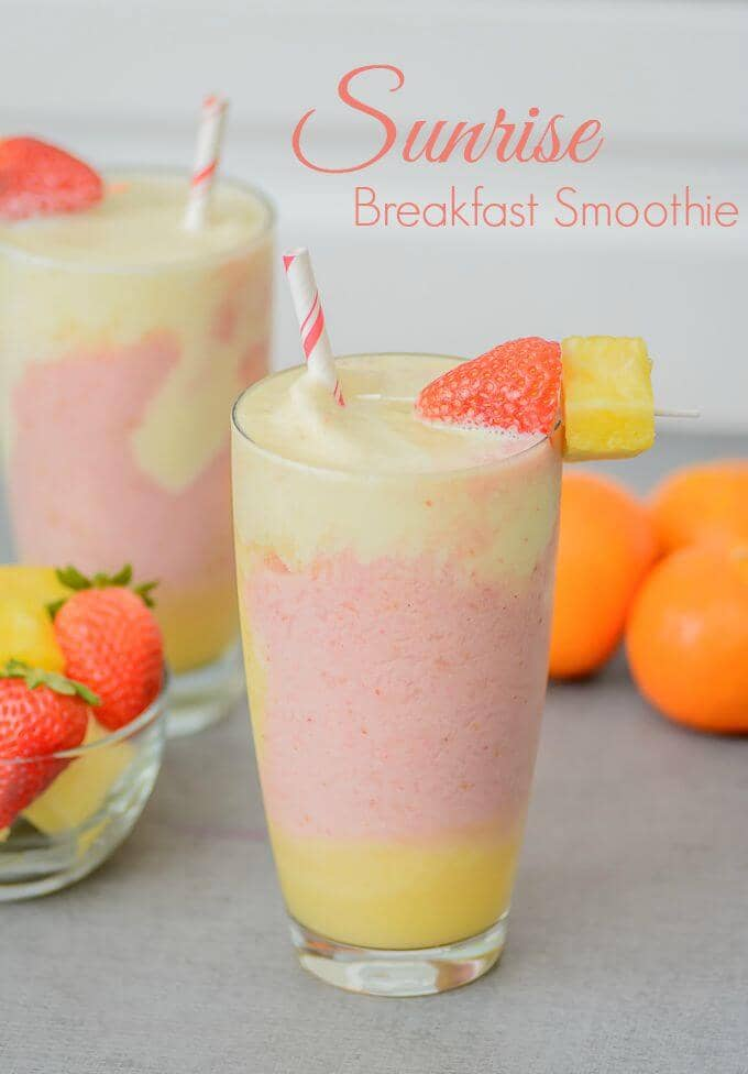 Layered Strawberry, Pineapple, and Orange Fruit Smoothie