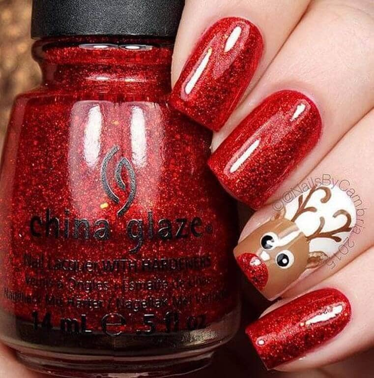 Rudolph the Red Nail Reindeer