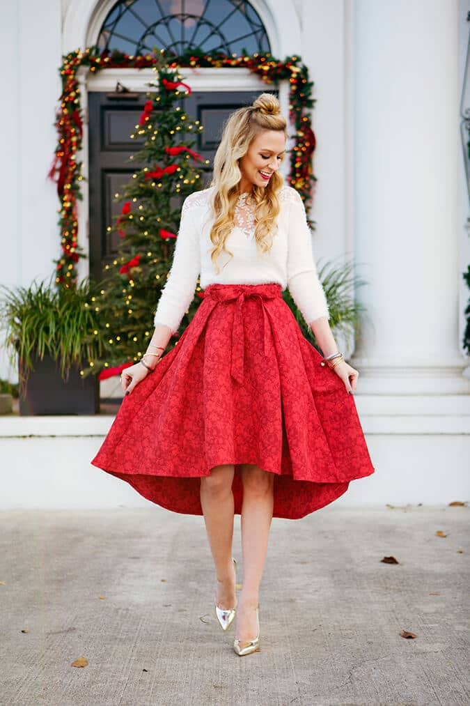 Metallic Heels, Red Circle Skirt, White 3/4 Sleeve Top
