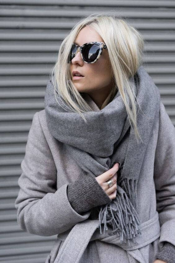 Luxe Gray Pashmina With Wrap Coat