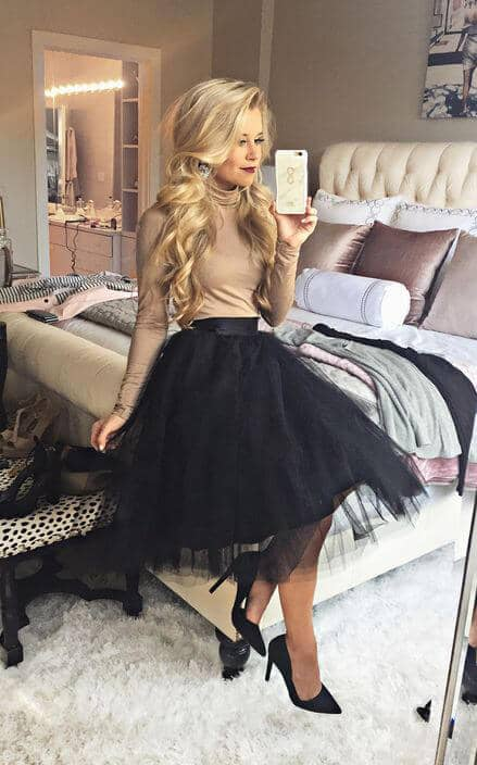 Black Tulle Skirt And Heels, Tan Turtleneck