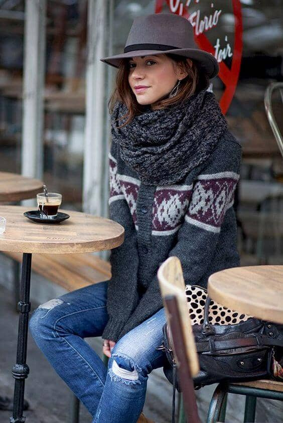 Sweater And Denim With Chunky Gray Circle Scarf