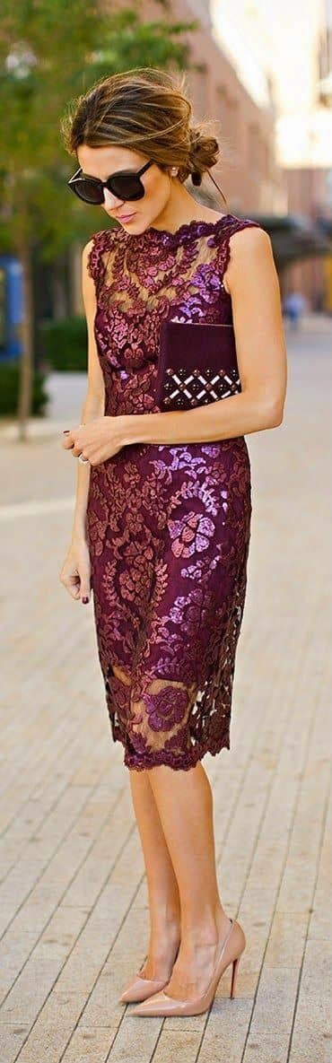 Eggplant Brocade Lace Dress With Nude Pumps