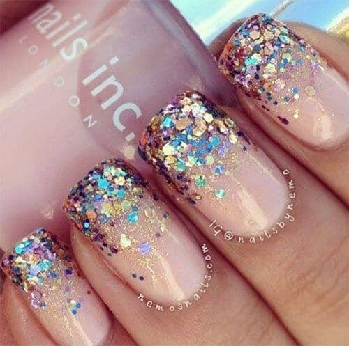 Metallic Unicorn French Manicure