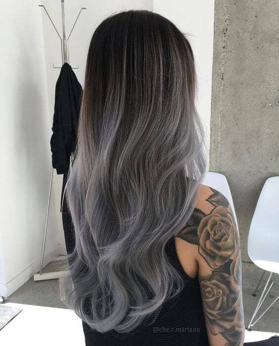 Brunette To Silver Balayage