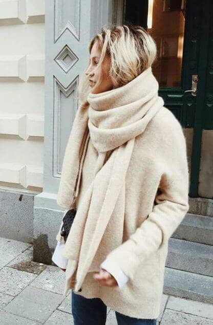 Cream Mohair Scarf And Matching Sweater