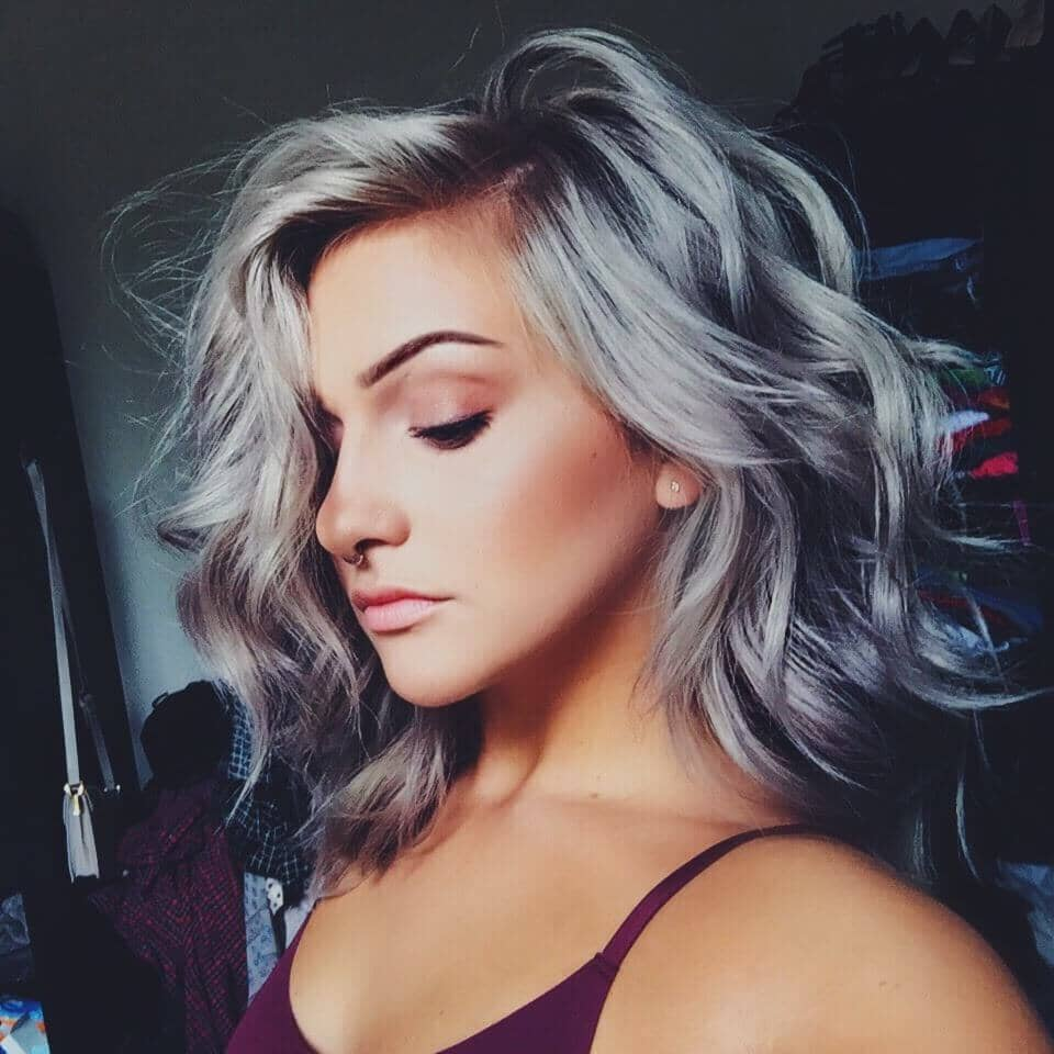 Shimmery Allover Silver Hair Color