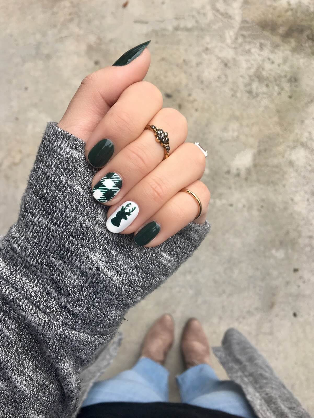 Forest Green Plaid and Reindeer