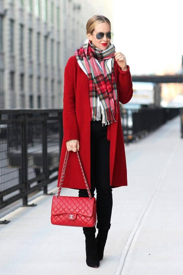 Red Coat With Red And White Plaid Scarf