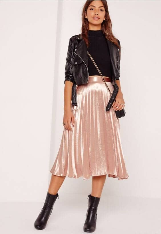 Pleated Skirt, Moto Jacket, And Booties