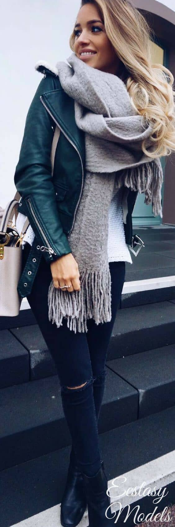 Gray Scarf With Fringe, Moto Jacket, Denim