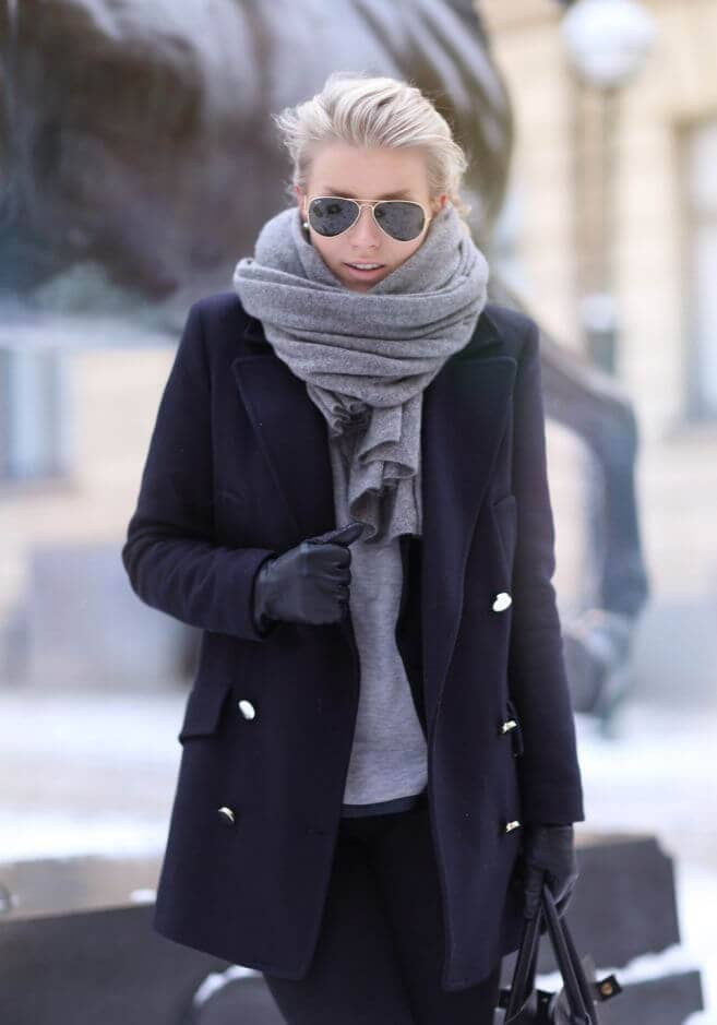 Gray Cashmere Blanket Scarf With Peacoat