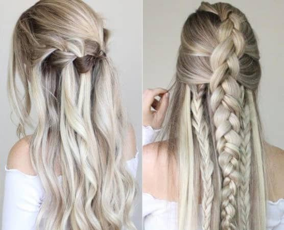 French Braid And Waterfall Braid Half-up Styles
