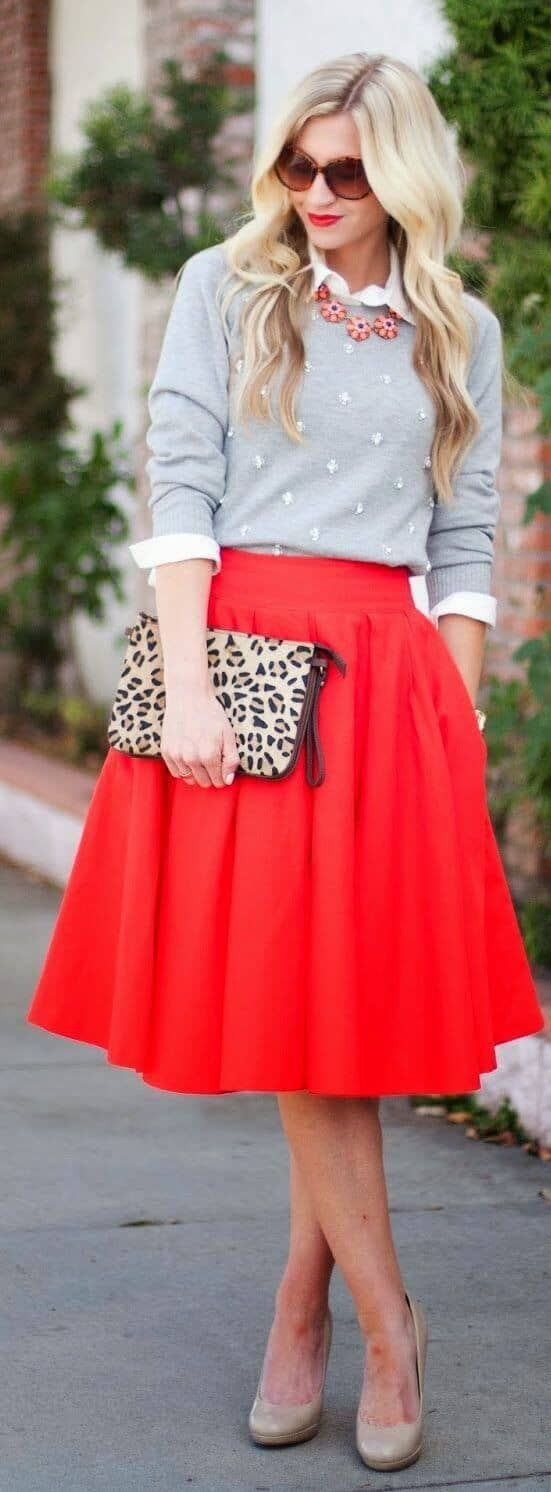 Red Circle Skirt, Button-down, Sweater, And Animal Print Clutch