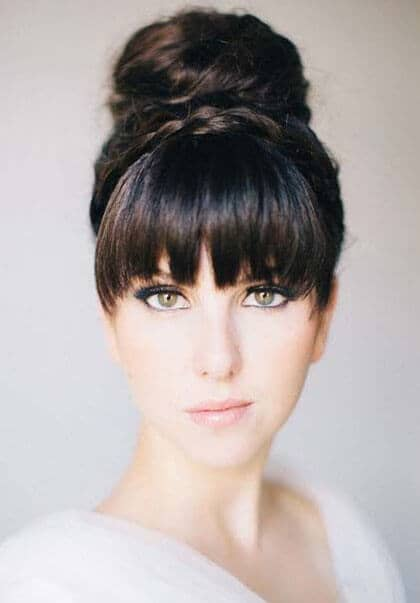 High Ballerina Bun With Bangs