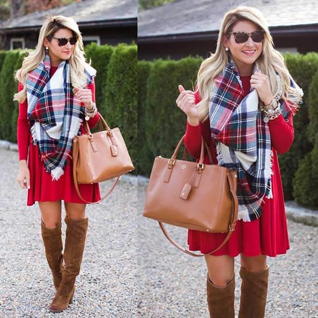 Red Dress, Over-the-knee Boots, And Plaid Blanket Scarf