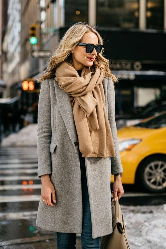 Camel Scarf With Oatmeal Coat