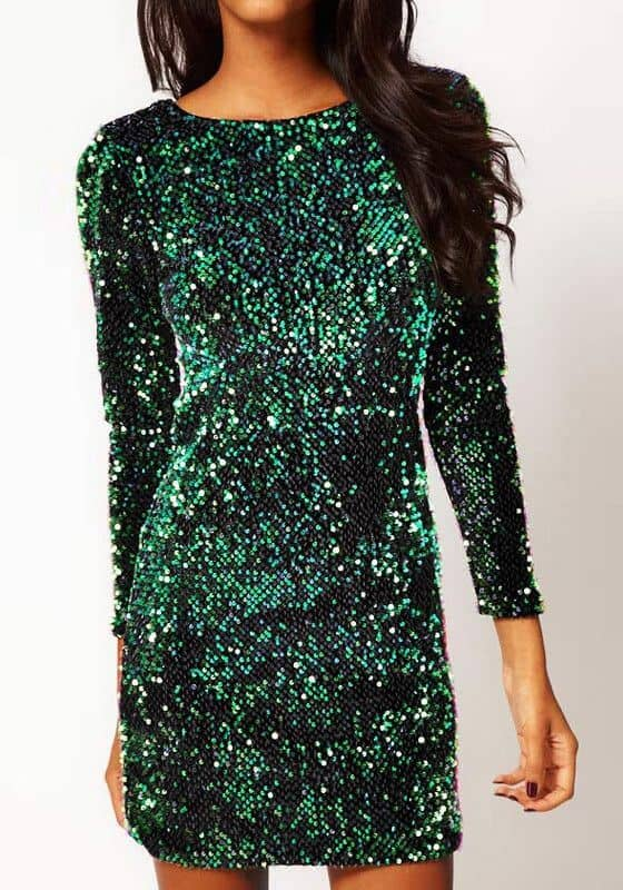 Long-sleeved Sequined Minidress