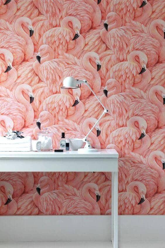 Flamingo Wall with Minimalist Décor