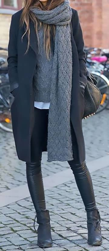 Gray Patterned Knit Extra-long Scarf