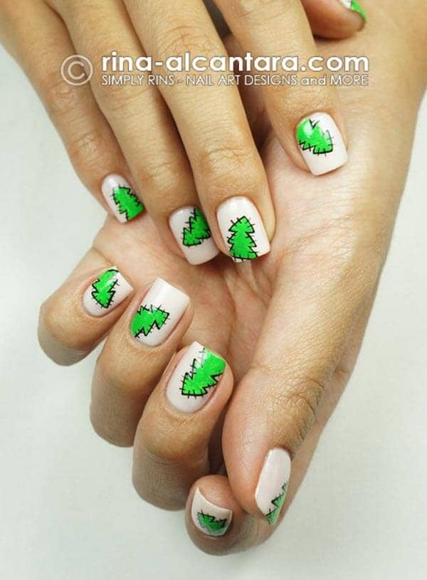 A Cute Christmas Nail Design with Patchwork Trees