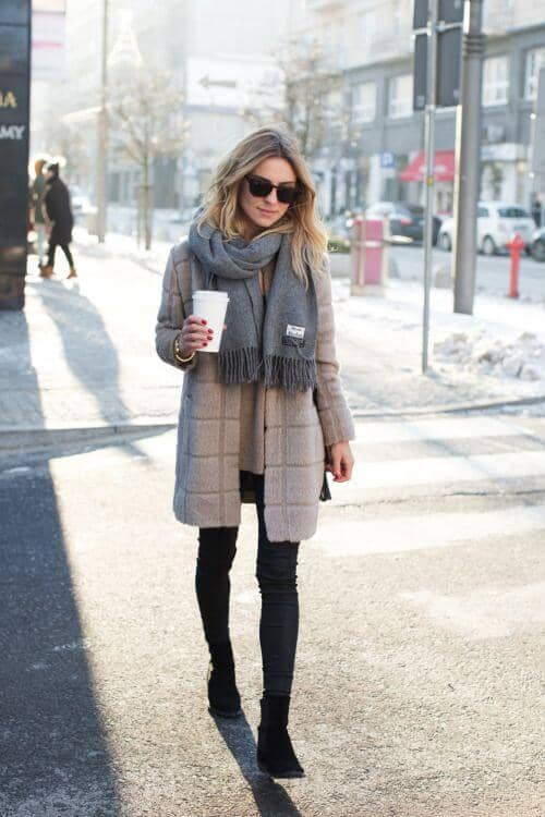 Gray Scarf With Beige Coat And Sweater