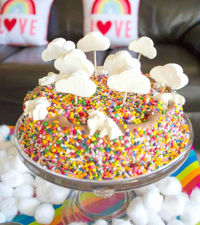 Cloud and Sprinkles Cake Centerpiece