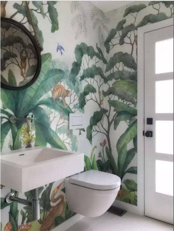 Whimsical Watercolor Jungle Mural