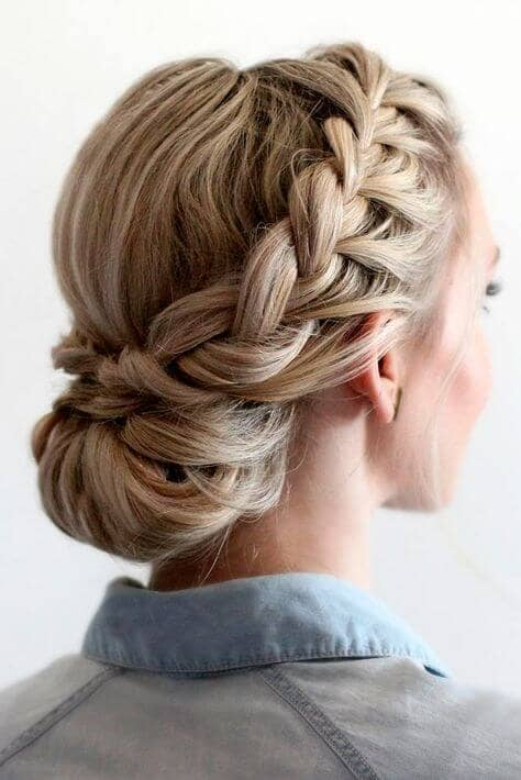 Side French Braid And Low Chignon