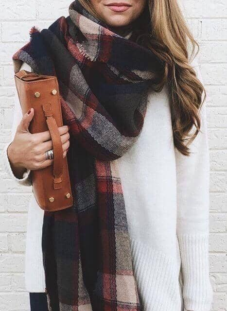 Dark Plaid Scarf With White Sweater