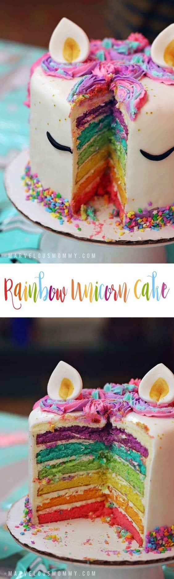 6-Layer Rainbow Bright Unicorn Cake